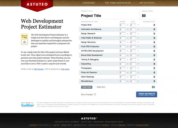 Estimator, herramienta online para presupuestos