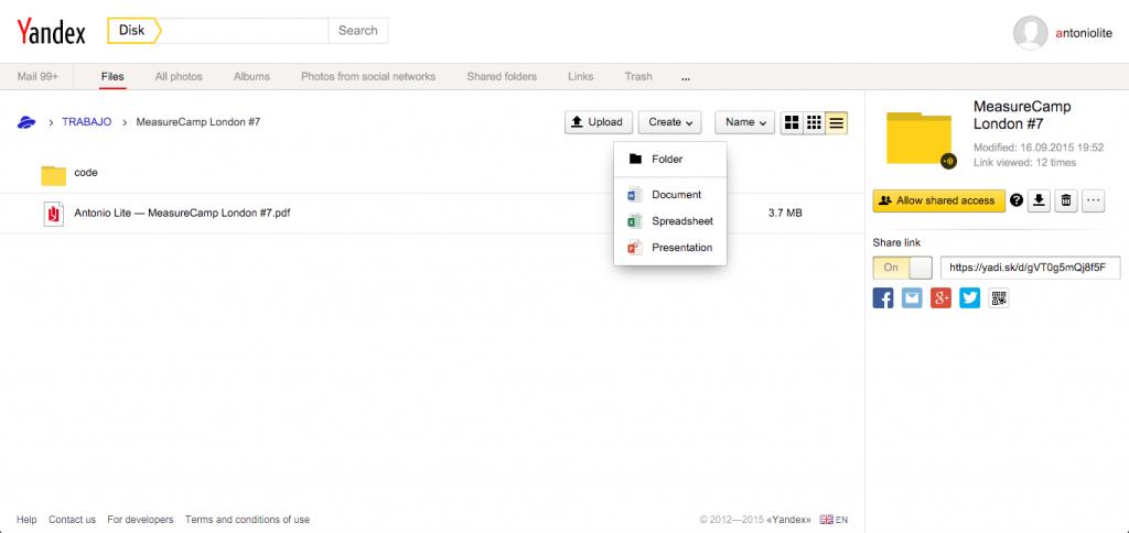 Yandex Disk — Microsoft Office Online